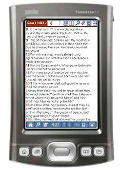 Screenshot of Palm Bible+ running on Palm T5